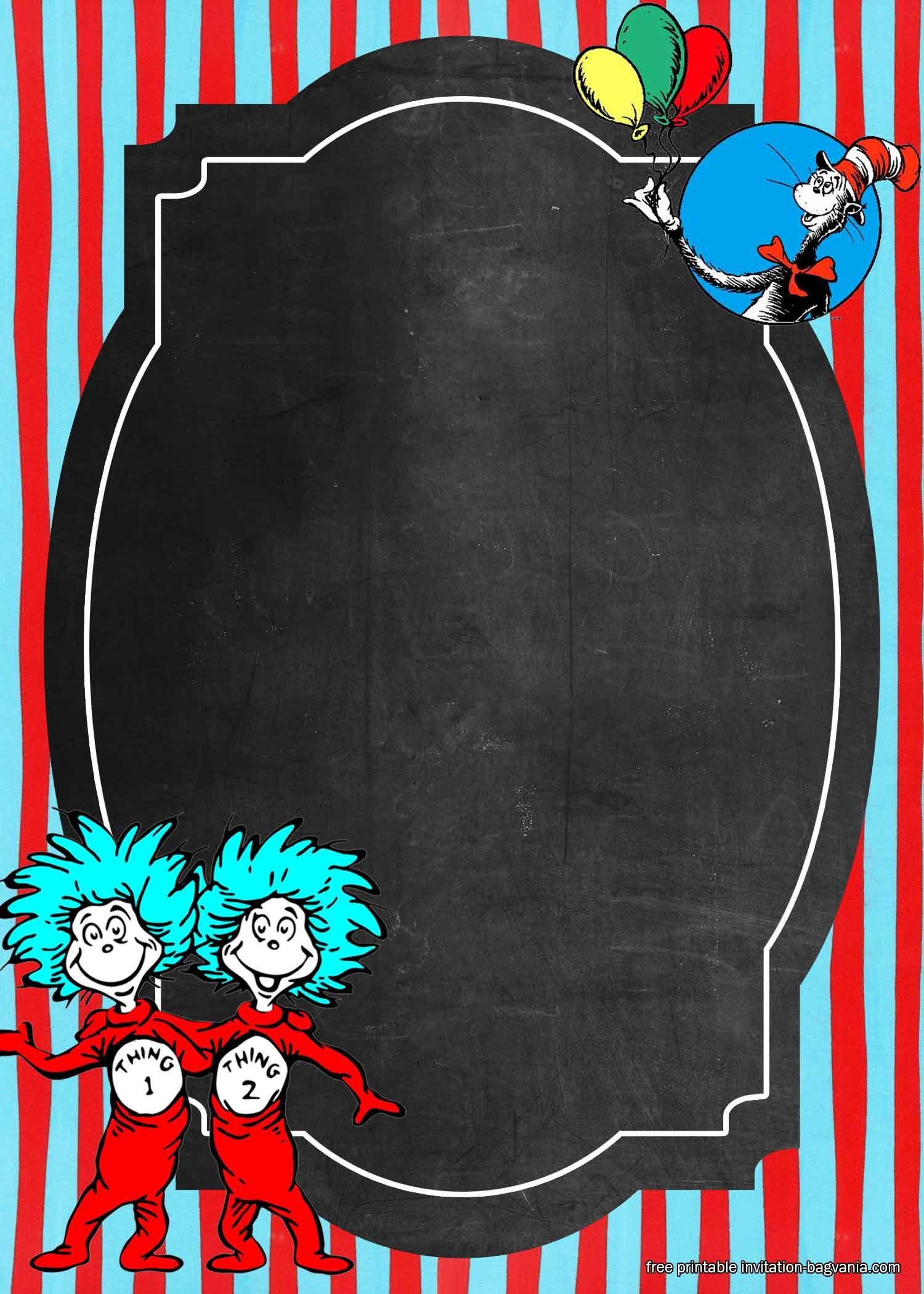 Free Printable Dr Seuss Birthday Invitation Templates Birthday Card Template Birthday Invitation Templates Dr Seuss Birthday