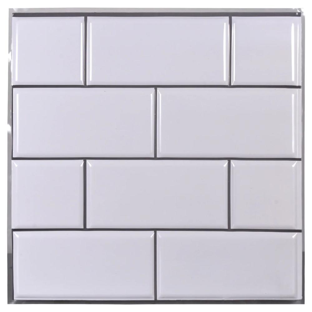 Tool Bench Hardware Self Adhesive White Wall Tile 12x12 In In 2020 White Wall Tiles Tool Bench Black Wall Tiles
