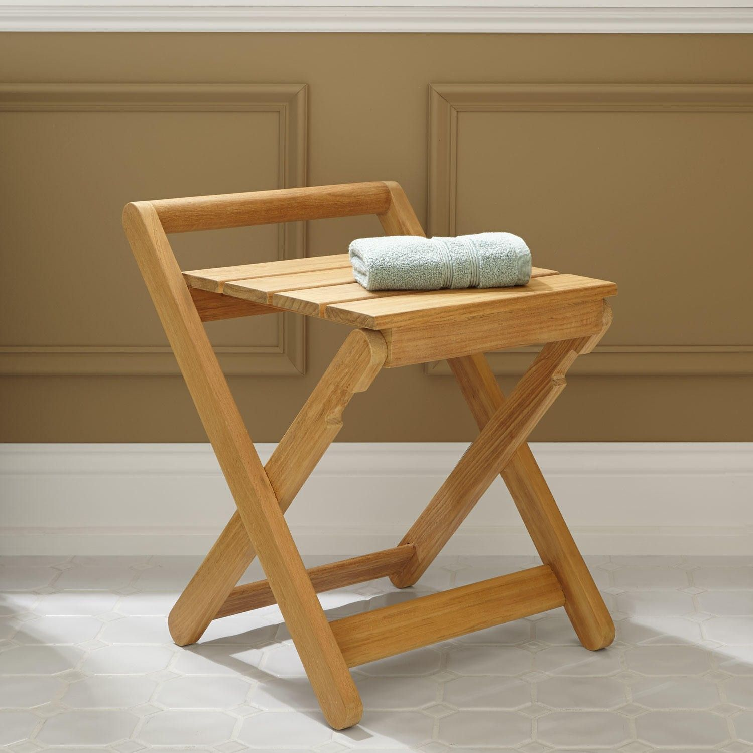 Dhara Teak Folding Shower Stool | Teak, Stools and Shower seat