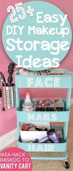 Fácil de bricolaje Ideas de maquillaje de almacenamiento