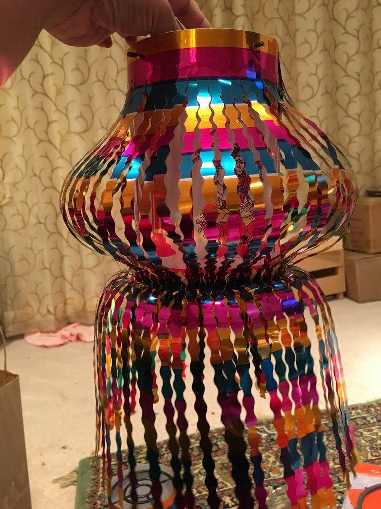 diwali plastic akash kandil single handi glitter diwali decor