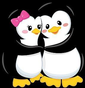 Penguin love Pinguinos enamorados Dibujos de pinguinos