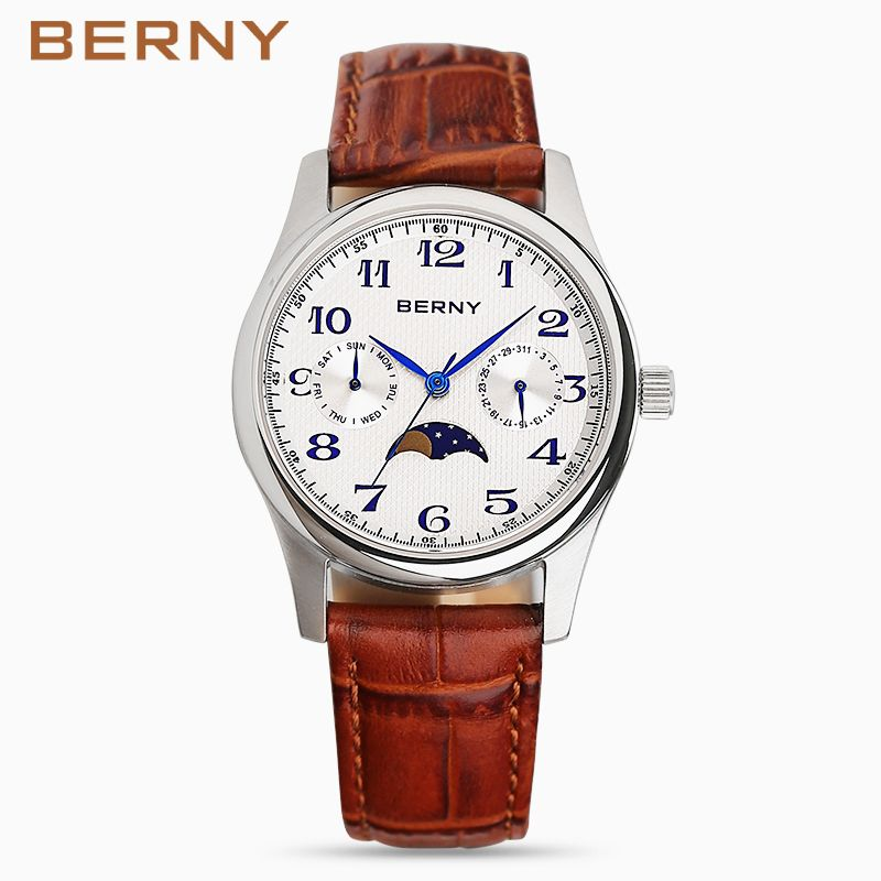 berny moon phase mens watches top brand luxury watch stainless steel back water resistant leather quartz