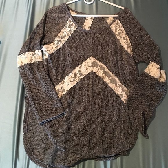 Blu Pepper Lace Sweater Top Good as new! Beautiful lace sweater top. Dark gray - not the color on the model! No trades Blu Pepper Sweaters Crew & Scoop Necks