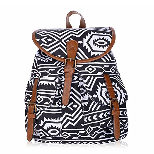 31579c469e Vbiger Canvas Backpack for Women Girls Boys Casual Book Bag Sports Daypack  White Black    Read more at the image link.