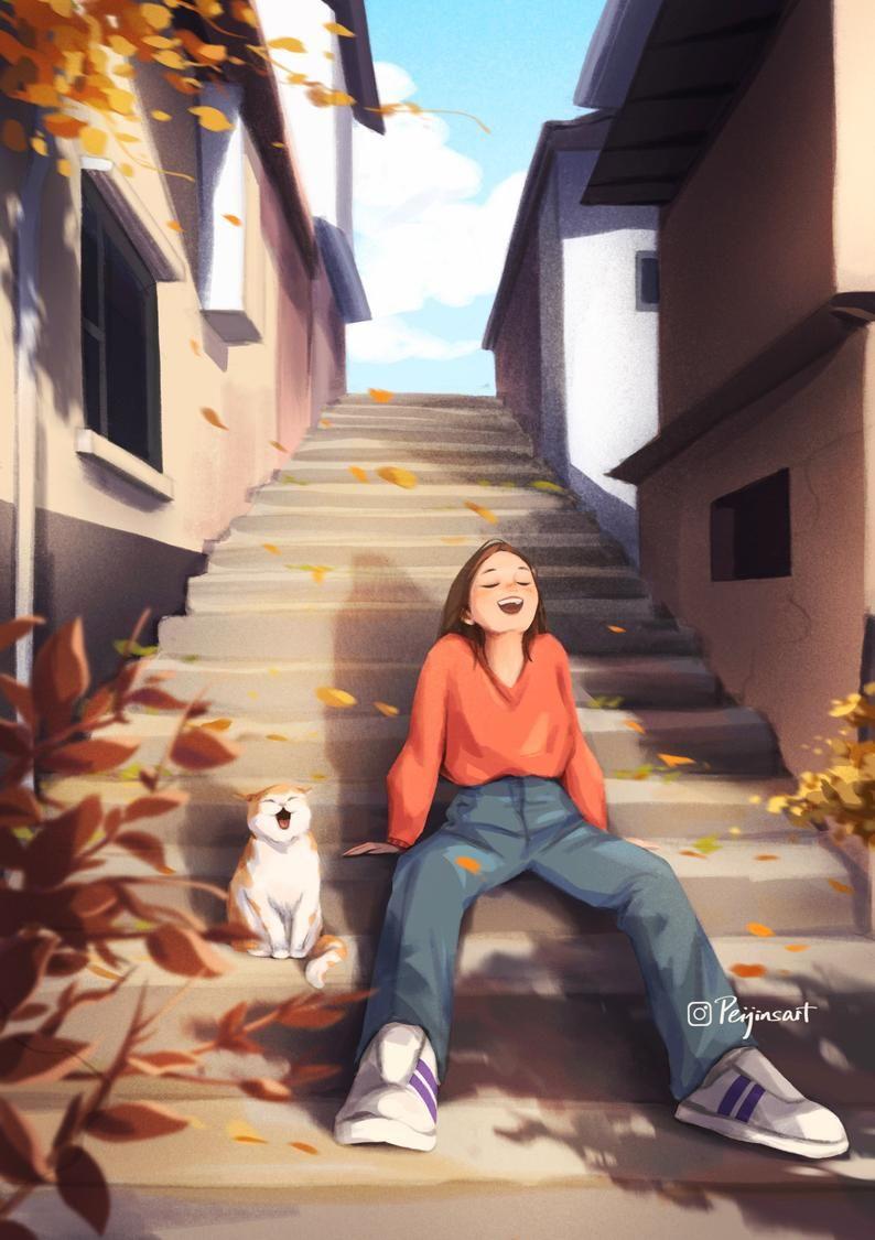 Let's get some sun! - Art Print - Autumn Color - Sunbathing - Cute Animal - Cat Art - Happy Moment - Peijin