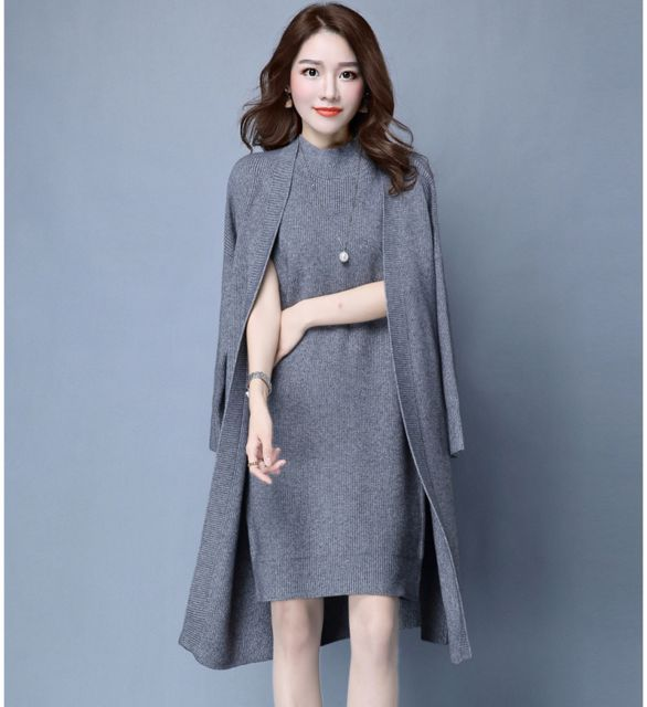 aaa59018969 2017 Spring Autumn Women Elegant Dress Suits two-piece Dress with Jacket  Knitted Plus Size professional office uniforms Set