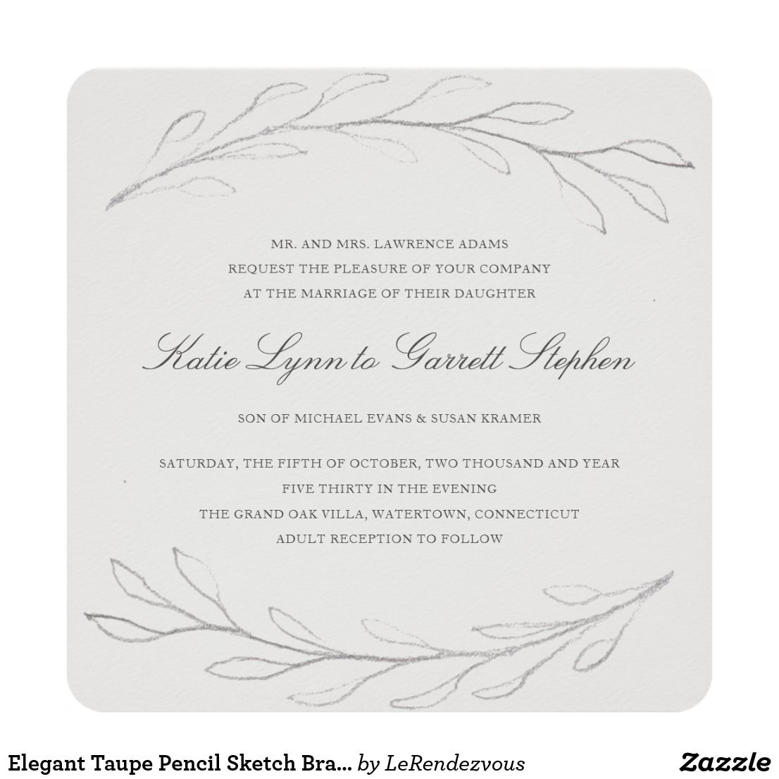 Elegant Gray Pencil Sketch Branch Formal Wedding Invitation Zazzle Com Nel 2020 Matrimonio Inviti