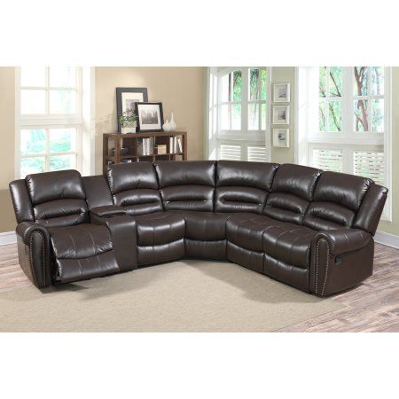 Grace 6 pc Dark Brown Leather Gel Living Room Reclining Sectional