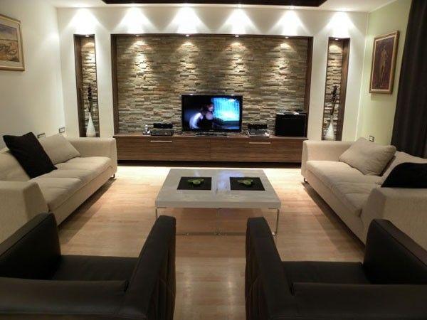 Revêtement mural décoratif en pierre dans le séjour | Salons, TVs ...