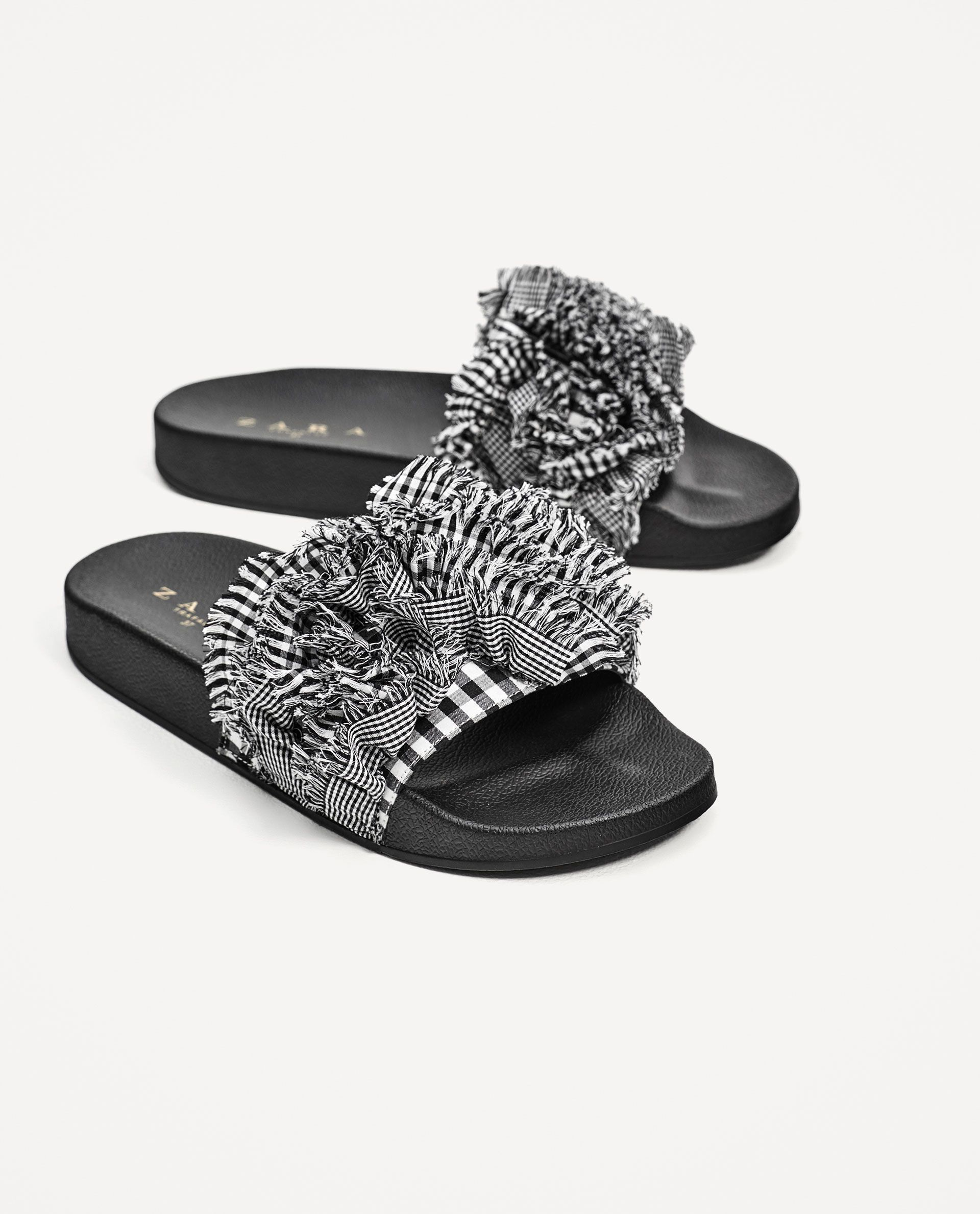 0bc852a0fe Image 1 of GINGHAM SLIDES from Zara | SANDALS | Shoes, Sock shoes ...