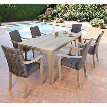 Ivena 7piece Teak Hardwood Dining Set Backyard Pinterest