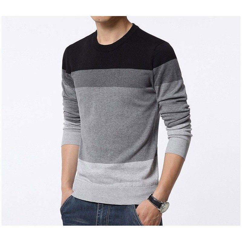 109d461f4 Camiseta Blusão Listrada de Inverno Masculina Manga Longa em Lã ...