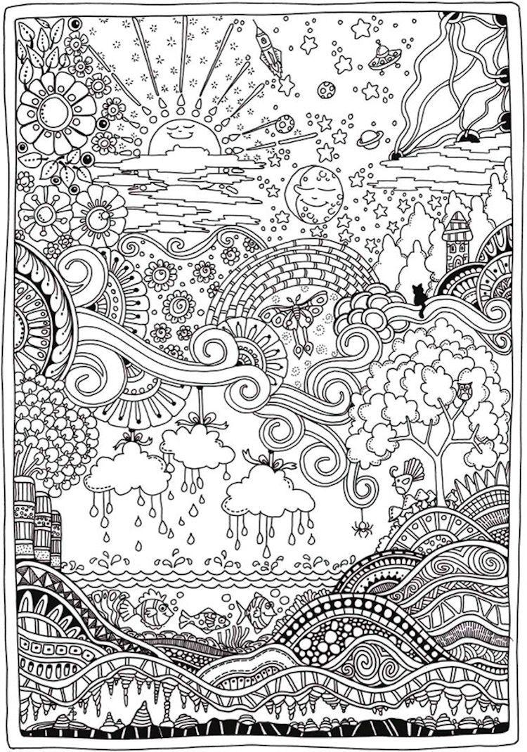 Insanely Intricate Entangled Landscapes Coloring Page 2 Ausmalen Malbuch Vorlagen Weihnachtsmalvorlagen