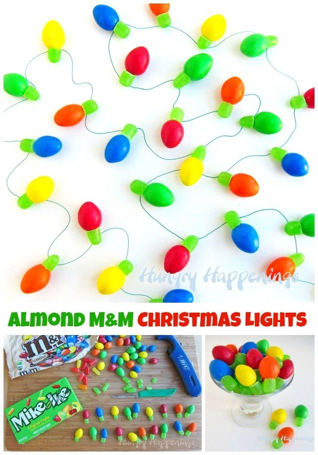 Candy Christmas Lights made using Almond M&M's and Mike and Ike Candies. - Candy Christmas Lights Made Using Almond M&M's And Mike And Ike