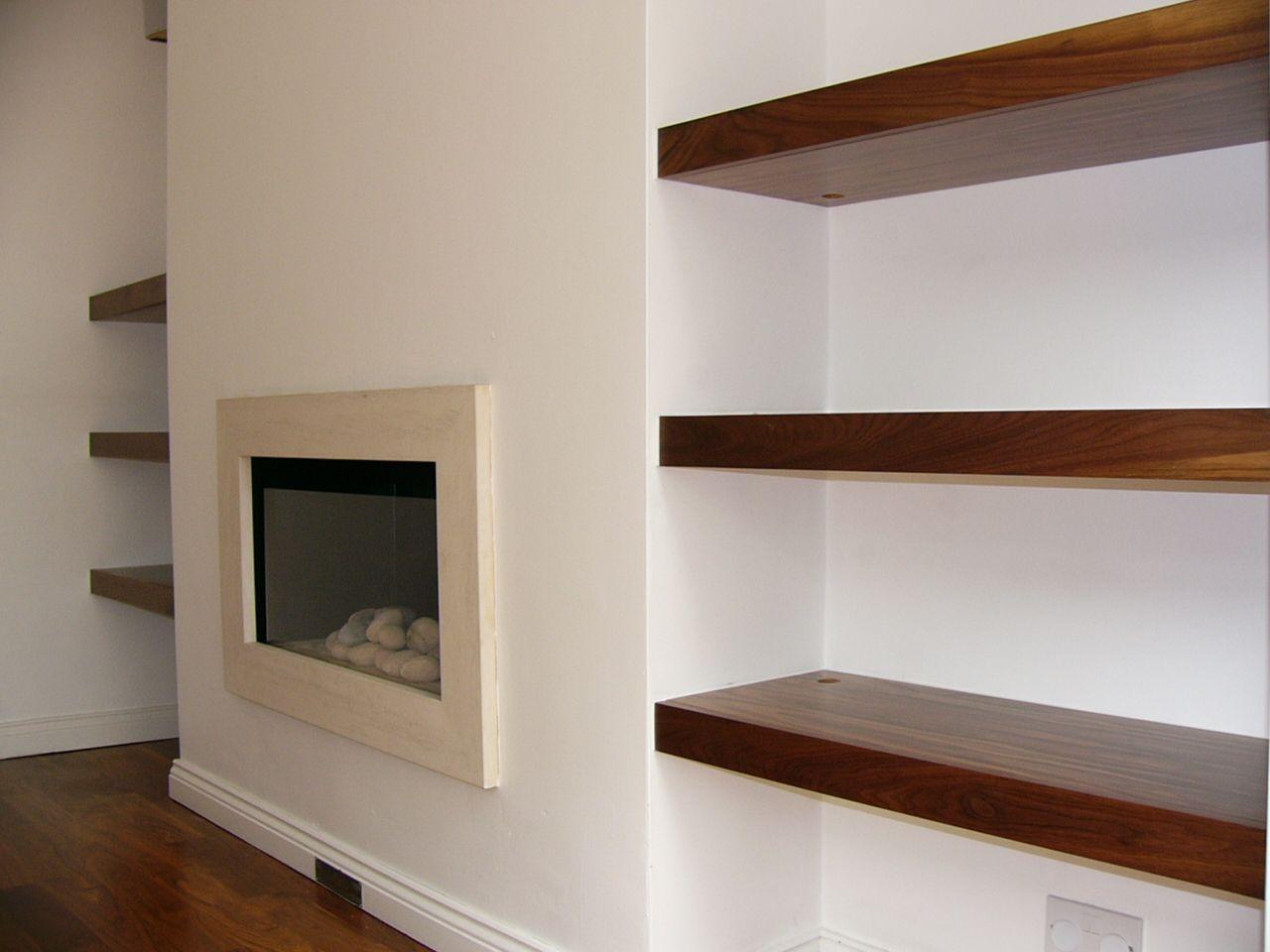 floating shelves near fireplace http://www.woodgatedesign.net ...