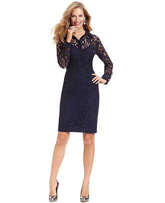 Jones New York Petite Dress Long Sleeve Lace Shirtdress