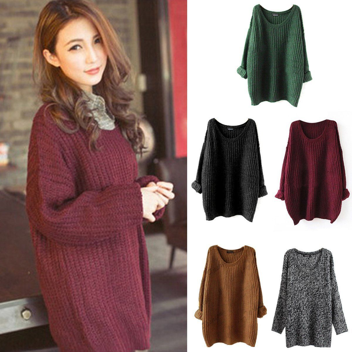 Women Loose Oversized Chunky Knitted Jumper Sweater Batwing Sleeve ...