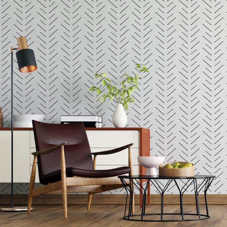 Modern Delicate Herringbone Arrow Wallpaper In Black And Etsy Scandinavian Design Peel And Stick Wallpaper Wallpaper