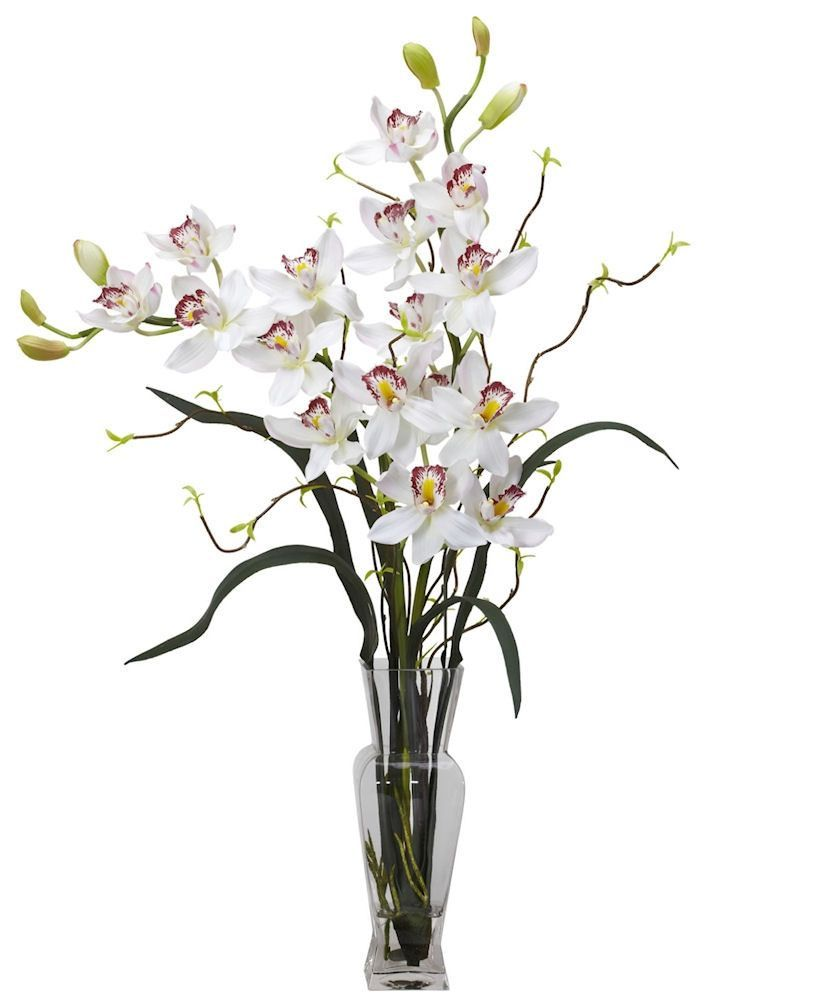 Cymbidium Orchid Silk Flowers In Water In 3 Colors 30 Inches