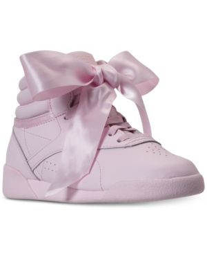 740f608f65b1 Reebok Little Girls  Freestyle Hi Satin Bow Casual Sneakers from Finish  Line - PORCELAIN PINK SKULL GREY 13
