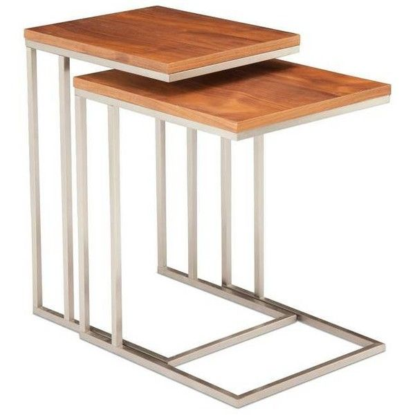 Moe's Home Collection Tabella Tables Set Of 2 Walnut Brown By ($334) ❤ liked on Polyvore featuring home, furniture, tables, accent tables, brown end table, nesting side tables, stacking side tables, walnut table and nesting tables