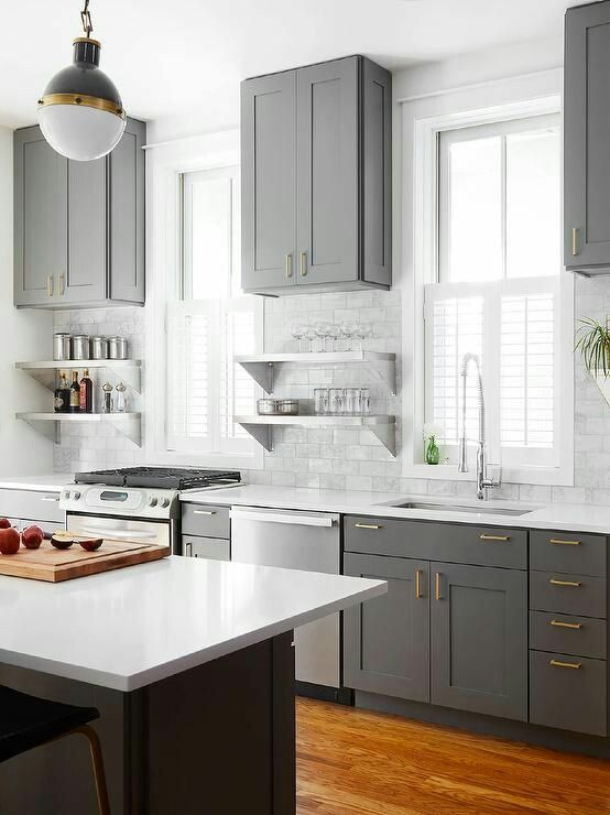 Gray Kitchen Cabinet Color With White Trim And White Countertops