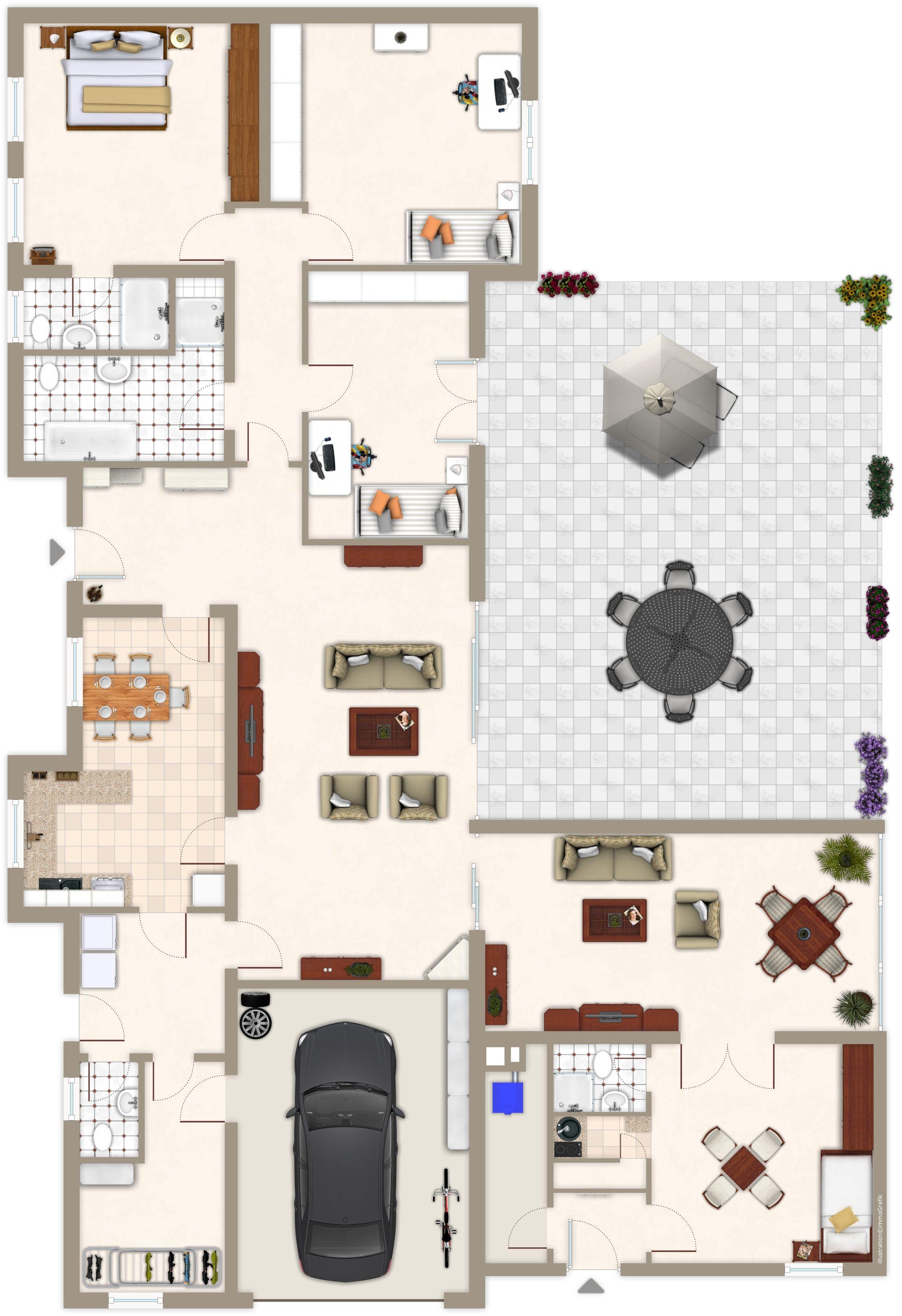 Hauspläne grundrisse  Bildergebnis für hauspläne bungalow grundrisse | Sims4 ...