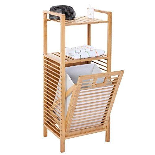 Serie legno bambu Narita arredo bagno scaffale a 2 ripiani con ...