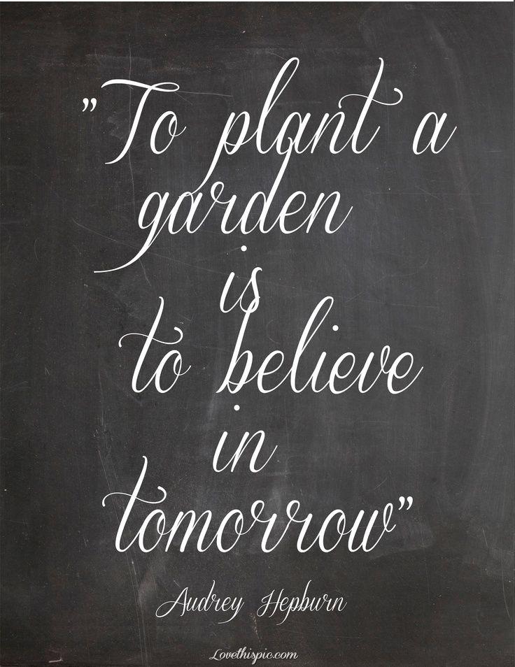 To Plant A Garden Quote Quotes Future Audrey Hepburn Faith Garden Tomorrow Believe Garden Quotes Words Favorite Quotes