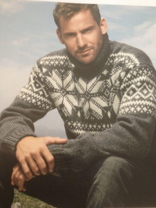 Mens Snowflake Scandinavian Jumper Sweater Knitting Pattern Snowflake Sweater Sweater Pattern Sweaters