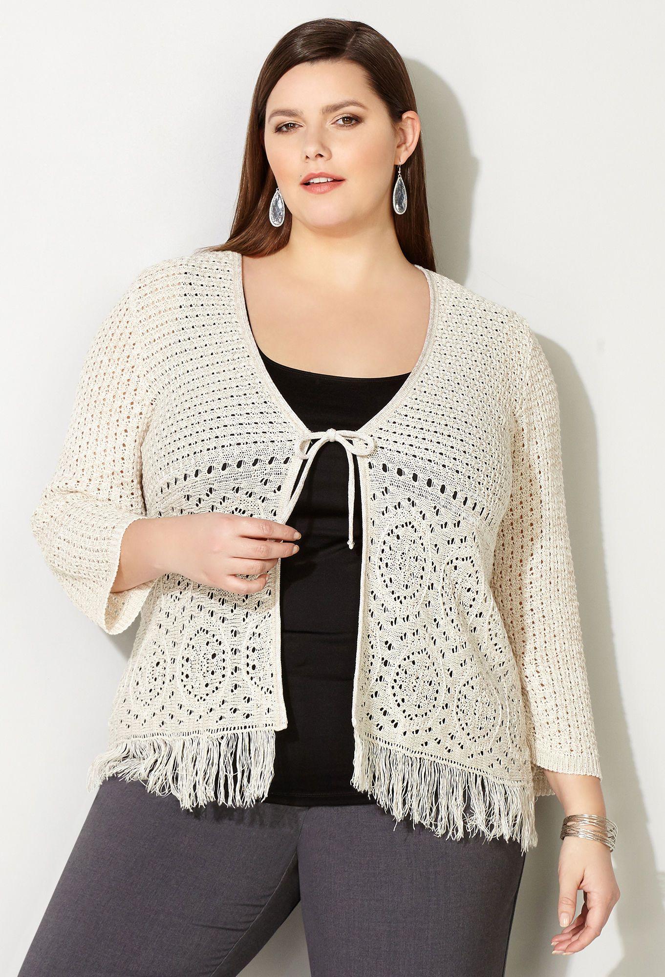 387351e8939e Circle Crochet Shrug - Avenue Crochet Cardigan, Plus Size Tops, Plus Size  Fashion,