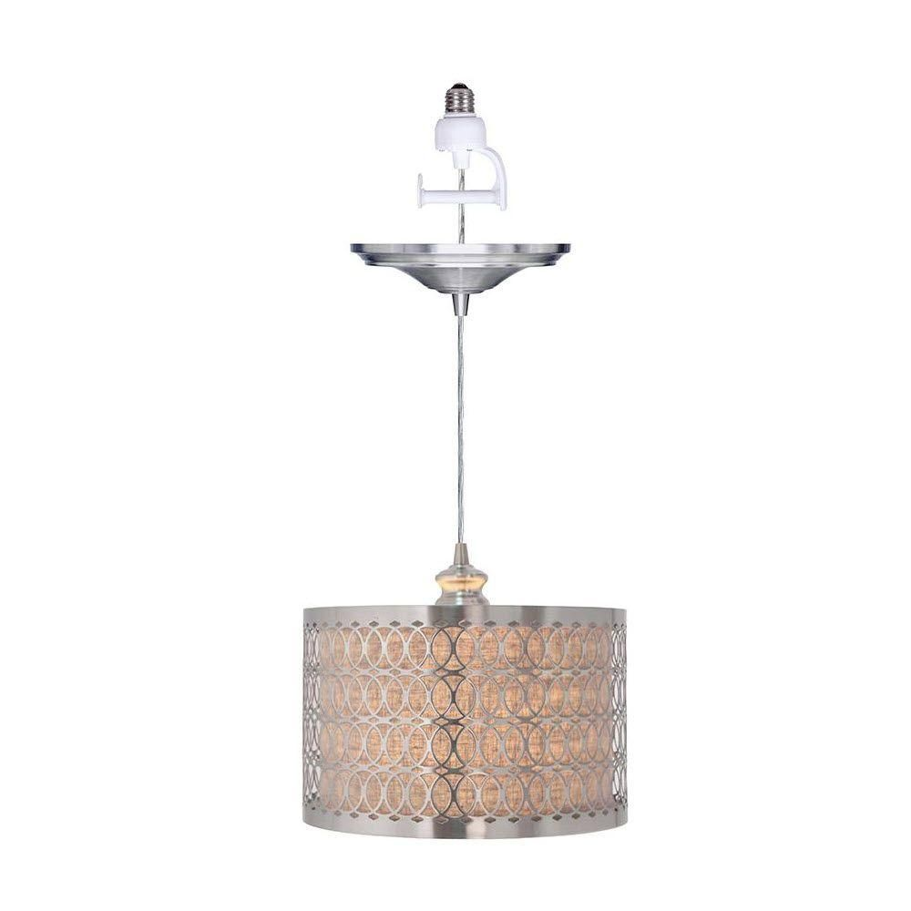 Home Decorators Collection Bella 1 Light Brushed Nickel Pendant With Conversion Kit 1880000220 At The Depot 150 00