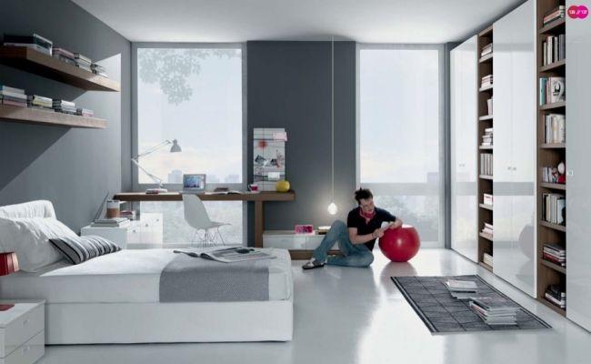 Ideen Jugendzimmer Junge Weiß Grau Wohnwand Bücherregale