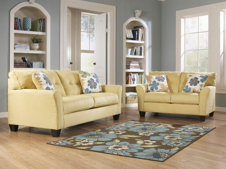 Kylee goldenrod sofa loveseat sofa loveseat