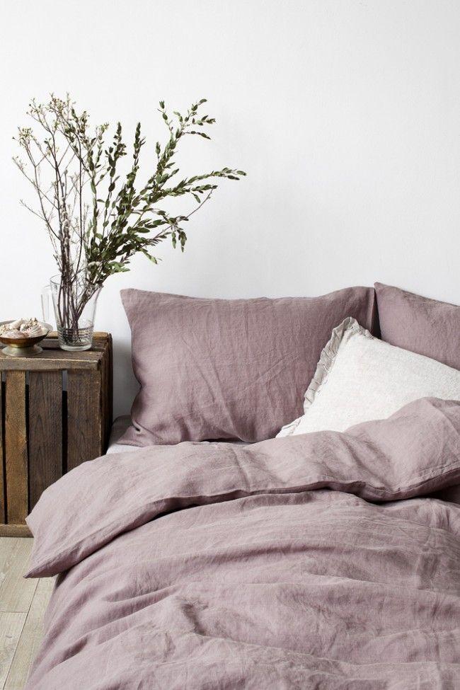 EU Dark Lavender Stone Washed Linen Bed Set
