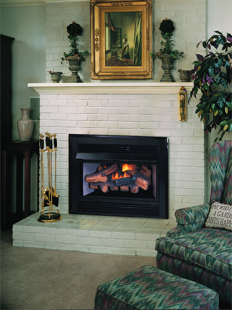 paint the brick white & add wood mantel? | gas insert fireplace