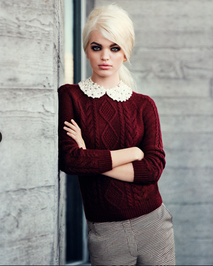 fall 2012: peter pan+oxblood+cable knit+ menswear pants