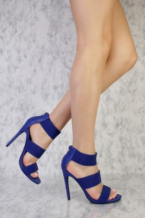 e7f0bf154f94 Royal Blue Triple Elastic Strap Peep Toe Single Sole High Heel Faux Leather