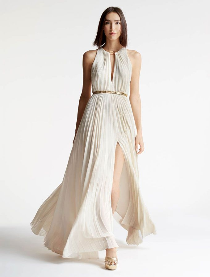 Halston - Arch Ring Hardware Pleated Gown | Dresses | Pinterest ...