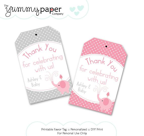 Gray and pink elephant party favor tags custom diy by yummypaper gray and pink elephant party favor tags custom diy by yummypaper via etsy negle Images