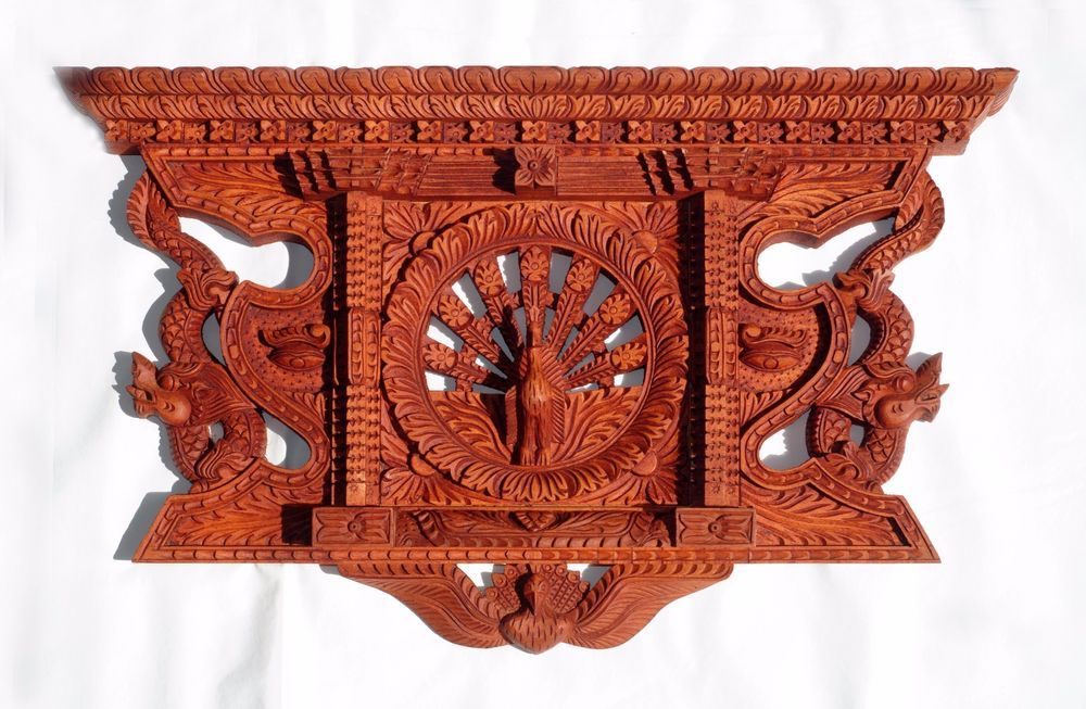 Traditional Wood Carved Peacock Window Mayur Jhyal Nepal Wood