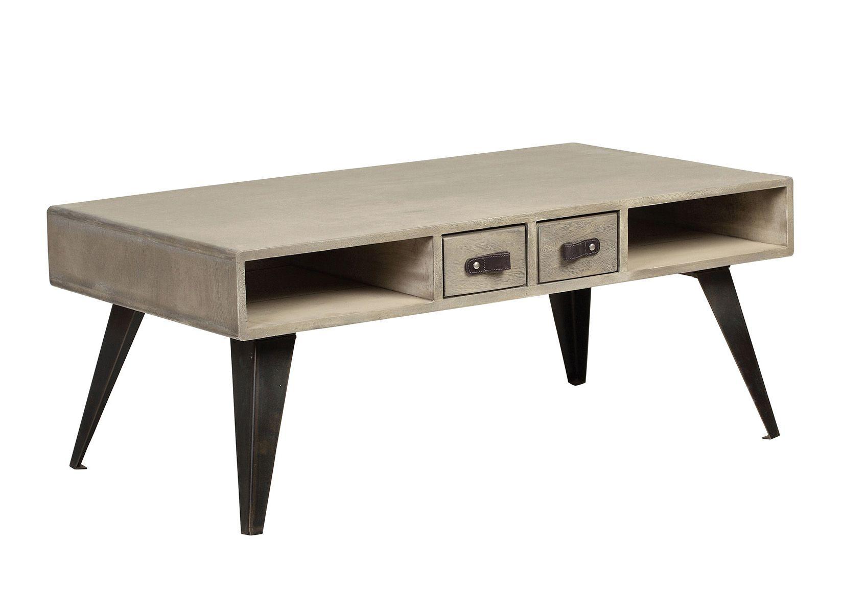 Table Basse En Manguier Massif 2 Tiroirs 2 Niches Pieds Metal 99