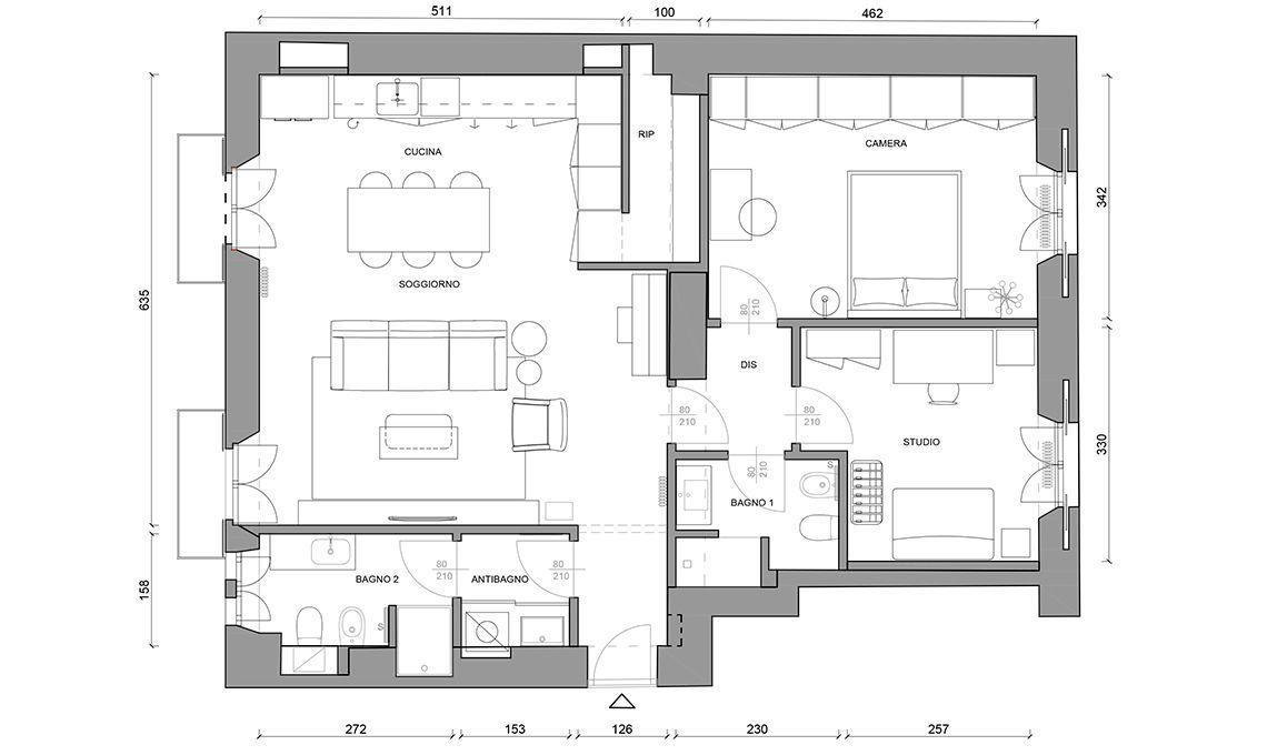 Trilocale Iperfunzionale 85 Mq Planimetrie Dell Appartamento Progetto Di Appartamento Pianta Del Piano