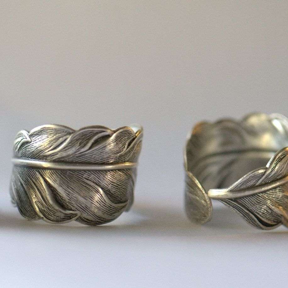Silver feather ring. Adjustable, Unisex, couples ring set, Thumb ring middle, wing bird, mens & womens. Gray Grey. $24.00, via Etsy.