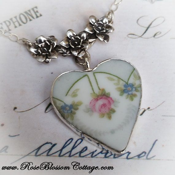 26671f37f Antique Broken China Jewelry Bone China Pale Blue Rose Floral Necklace