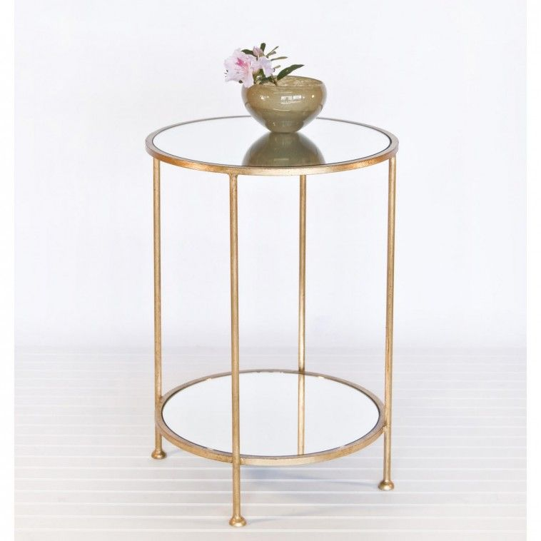 Worlds Away Chico Small 2 Tier Gold Leaf Side Table, Mirror Top Traditional  Side Tables And Accent Tables