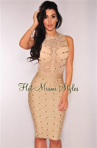 d2272ba92ca6 Nude Gold Studded Bandage Dress Womens clothing clothes hot miami styles  hotmiamistyles hotmiamistyles.com sexy club wear evening clubwear cocktail  party ...