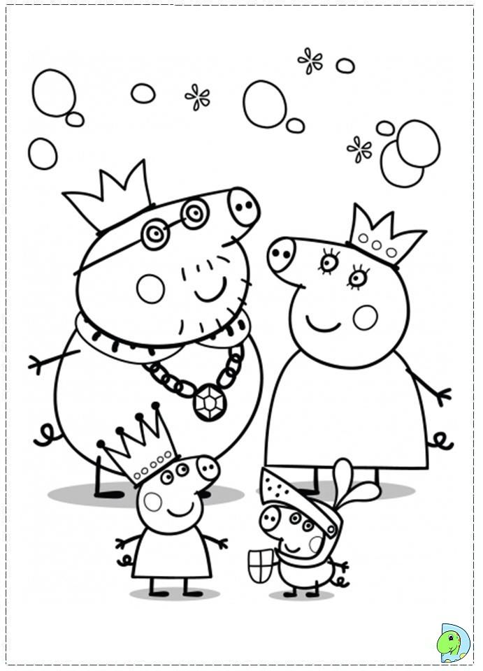 Pig Family In Pajamas High Quality Free Coloring From The Category Peppa Pig Peppa Pig Colouring Peppa Pig Coloring Pages Christmas Present Coloring Pages