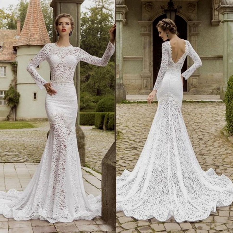 Creative Decoration Open Back Long Sleeve Wedding Dress Lace Bridal Bliss Weddingdresse Long Sleeve Wedding Dress Lace Wedding Dresses Lace Back Wedding Dress